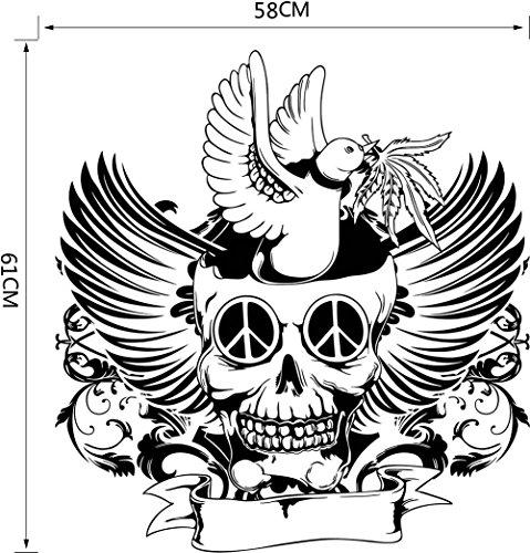 oween Mauer Aufkleber Geist Festival Dunkel Vogel Kunst Abziehbilder Flügel Schädel Kunst Wandgemälde Abnehmbar Wasserdicht Tür Fenster Zuhause Dekoration , 3 set , 71*58CM (Schöne Halloween-nägel)