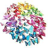 Meown 84 pcs 3D Papillons, Mural Autocollants, Amovible Réutilisable - 7 Couleurs