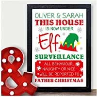 Personalised ELF ON THE SHELF Under Elf Surveillance Certificate Print Xmas Fun - Traditional Christmas Gifts - Black or White Framed A5, A4, A3 Prints or 18mm Wooden Blocks