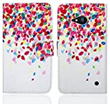 Nokia Lumia 735 730 Handy Tasche, FoneExpert® Wallet Case Flip Cover Hüllen Etui Ledertasche Lederhülle Premium Schutzhülle für Nokia Lumia 735 730 (Pattern 1)