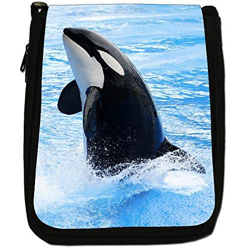 Killer/orca balene Orcinus orca Medium Nero Borsa In Tela, taglia M Killer Whale Splashes In Water