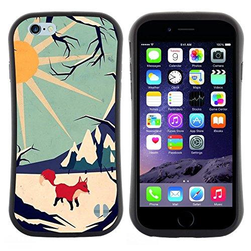 Hypernova Slim Fit Dual Layer Protettiva Custodia Caso Case Per Apple (5.5 inches!!!) iPhone 6 Plus / 6S Plus ( 5.5 ) [Fox Sun moda Montagna Invernale]