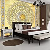 FORWALL Fototapete Tapete Mandala in Gold P8 (368cm. x 254cm.) Photo Wallpaper Mural AMF10117P8 Gratis Wandaufkleber Mandala Indien Indisch Orient Orientalisch Gold