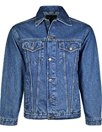 Mens Denim Jacket Long Sleeves Front Button Closure