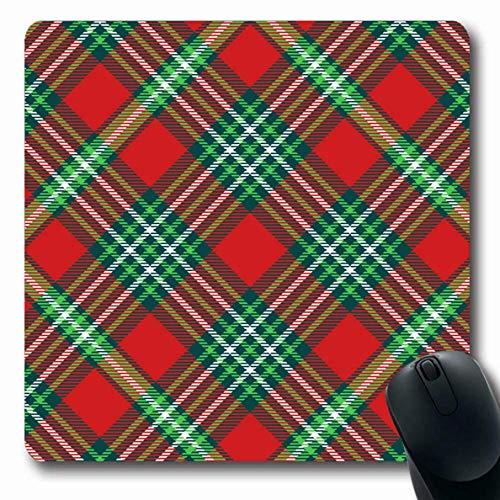 Muster Flanell-pyjama (Mousepad Länglicher Feiertags-roter Pyjama-Tartan-Plaid-Muster-Weihnachtsweinlese-aquamarine grüne Flanell-Grenze Britische Kontrollbüro-Computer-Laptop-Notizbuch-Mausunterlage, rutschfester Gummi)