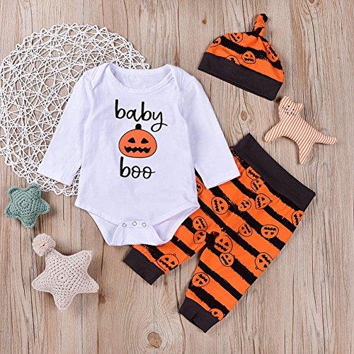 Zooarts für 0-2Jahre Baby Jungen Baby Boo Kürbis Print Body Legging Pants Hat 3/Set Outfit Kinder Strampler Outfit Kleidung, Baumwollmischung, Multi, 70 (0-6 Months)