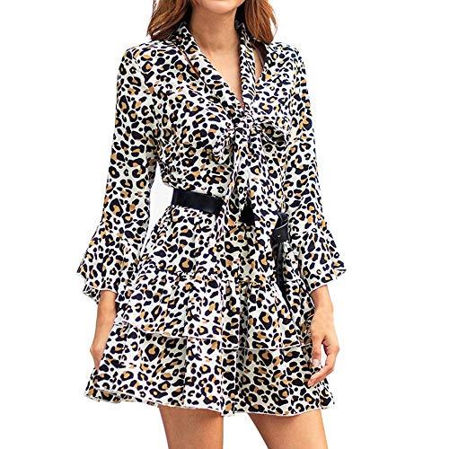 A-Linie Partykleid Mode Sexy Minikleid Leopard-Druck Strandkleid Rüschen Trompetenärmel Abendkleid Abend Prom Kostüm Swing Dress Boho Lange Ärmel Kleid Mit V-Ausschnitt ()