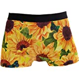 ALARGE Men's Boxer Briefs, Flower Sunflower Butterfly Short Underwear Soft Stretch Underpants for Men Boys S-XL