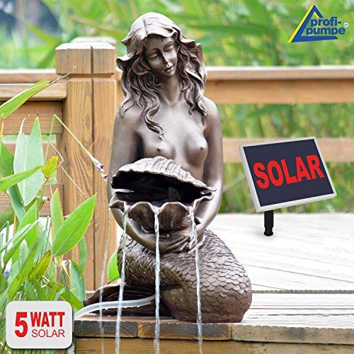 SPRINGBRUNNEN GARTENBRUNNEN SOLAR ZIERBRUNNEN Teichpumpe Set BRUNNEN Solar Meerjungfrau - SOLARBRUNNEN GARTENTEICH BRUNNEN SETVOGELBAD WASSERSPIEL für Garten, Terrasse, Teich, Balkon, sehr DEKORATIV, VERBESSERTES MODELL