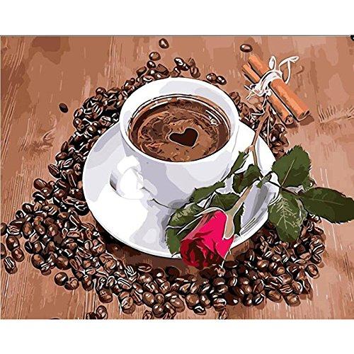 Kimruida Unframed DIY Digital Ölgemälde Malen Nach Zahlen Kaffee Rose Blume Wand-dekor Geburtstag & Festliches Geschenk -