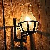 QAZ Wand Lampe Retro rustikale Wandleuchte Licht mit klaren gesäte Glas Vase Lampenschirm für Vorbau Beleuchtung Wandleuchten
