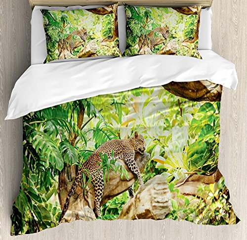 Safari 3-teiliges Bettwäscheset mit Bettbezug, Leopard auf dem Ast in Savanne Exotic Macro Tropical Leaf Jungle Wild Nature Art, 3-tlg. Tröster- / Qulitbezug-Set mit 2 Kissenbezügen, Braungrün -