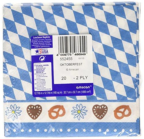Amscan International Bayerische Servietten, 33cm (Blau / Weiß) (Party Kostüm Internationalen Versand)