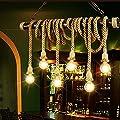 Pendelleuchte Hängeleuchte Romantische Retro Hanfseil Industrielle Deco-lampe Beleuchtung Bügeleisen Kronleuchter Leuchte Höhenverstellbar für Wohnzimmer Restaurants Dachstube Lounge Keller E27 LED