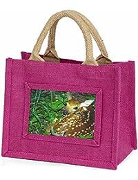 Advanta - Mini Pink Jute Bag Baby Bambi Deer Little Girls Small Shopping Bag Christmas Gift, Jute, Pink, 25.5 x 21 x 2 cm