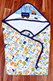 Gurukripa New Born Baby High Quality Extra Soft To Baby Delicate Skin Cartoon Print Hooded Housiry Chaddar Cum Odddna Wrapping /Wrapper Sheet Single Layer Baby Sleeping Bag Baby Cotton Sheet (Navy Blue)