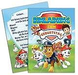 Paw Patrol geburtstag einladung, 8 Stück geburtstagseinladungskarten inklusive Umschlägen, 16 teilige (8 Einladungen und 8 Umschlägen) Einladungskarten Geburtstag kinder / Kindergeburtstag
