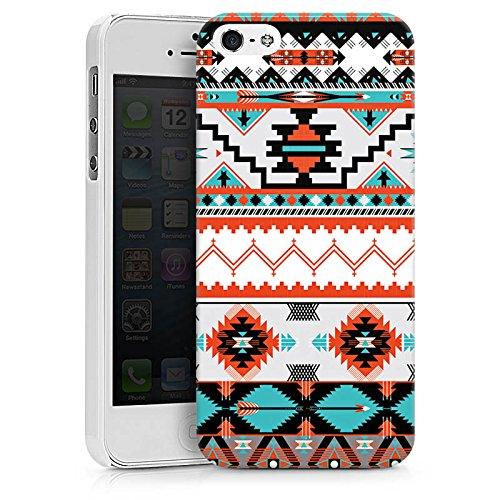 Apple iPhone X Silikon Hülle Case Schutzhülle Ethno Azteken Muster Hard Case weiß