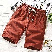 ACzeg Pantalones Cortos Algodón de Verano Informal Masculino Playa Suelta Hombres Lino Hombres, M, Rojo