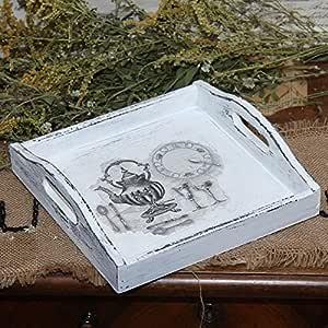Vintage Holztablett 24x24 cm Serviertablett Landhaus Shabby Tablett Handarbeit