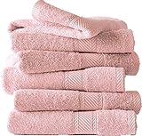 De Witte Lietaer - 194 850, Set di 6 asciugamani da bagno, in cotone, Rosa chiaro (Rose), 100 x 50 cm
