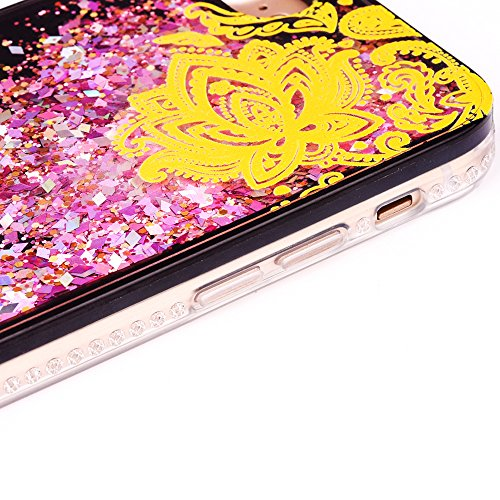 """iPhone 6s Handyhülle, iPhone 6 TPU Softcase, CLTPY Kreativ 3D Dynamisch Treibsand Glanz Fließen Flüssig Schwimmend Herz Stern Shale Etui, Schwarz Stoßfest Silikon Rückseite Hülle für 4.7"""" Apple iPhone Gold Sonnenblume"""