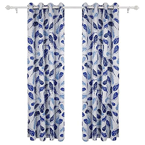 Deconovo Vorhang Blickdicht Ösen Gardine Kinderzimmer Vorhang Modern Digitaldruck 175x135 cm Feder Blau 2er