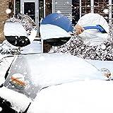 Philonext Auto Windschutzscheibe Abdeckung Anti-Schnee Wind Frostabdeckung Windschutzscheiben Abdeckung mit Elastikbänder Sonnenschutz und Winterabdeckung Sonnenblende Eisschutz Frontscheibe für Winter+Sommer