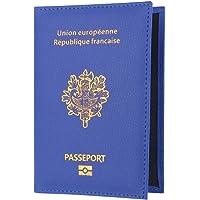 OVERMAL Reisepasshülle Leder RFID Schutz Reise-Etui Passhülle Reisepass Mappe Reisepassetui Passport Hülle Damen Herren Geschenk Passinhaberdeckel Karteninhaber (Blau, 8cm*1cm*14.2cm)