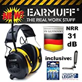 "31dB Original ""EAR-MUFF"" mit 8 Senderspeicher - Extra robuster Radio Kapsel Gehörschutz Kopfhörer mit SmartPhone und MP3 Anschluss inkl. AUX Kabel, 4x VARTA Batterien & Gürtelclip , Heavy Duty Electronic Ear Muff with batteries and belt clip"