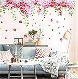 Sofa Hintergrund Wandtattoo Möbel Romantische Kirschblüten Wand-Aufkleber Rosa-Rote Blumen, Grüne Blätter, Schmetterlinge, Dekorative Wörter Buchstaben Große Dekorative Bunte DIY Vinyl Wandtattoo für Wohnzimmer, Schlafzimmer