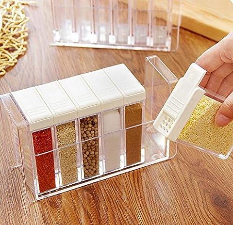 K&C 6 Gewürz-Shaker Gewürz-Flaschen Gewürz-Rack-Halter Jar Condiment Aufbewahrungsbehälter mit Tablett für Salz Sugar Cruet Pfeffer Weiß