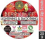 SolaceDeArtisan Berry Buff Lip Scrub Strawberry Powder & Jojoba Oil- Lightening & Smoothing
