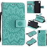 Cozy Hut Huawei ShotX/Honor 7i Hülle [ Sunflower Muster ] [Premium Leder] [Standfunktion] [Kartenfach] [Magnetverschluss] Schlanke Leder Brieftasche für Huawei ShotX/Honor 7i - Grün Sonnenblume