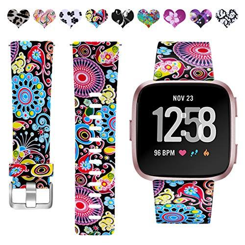 HUMENN Kompatibel für Fitbit Versa Armband/Fitbit Versa Lite Armband, Wasserdichtes Blume Ersatz Armbänder Musterband für Fitbit Versa/Fitbit Versa Lite Smartwatch, Klein Bunter Jellyfish