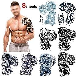 Howaf Große temporäre Tattoos Brust Fake Arm Tattoo Sticker wasserdichter Temporär Tätowierung Tattoo Aufkleber Körperkunst für männer Frauen, 8 Blätter