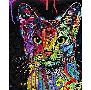 Dipingi per numero Kit, Dipinto ad olio Fai da te Disegno Cat Canvas colorato con pennelli Decorazioni Decorazioni Regali - Frameless 16x20 pollici