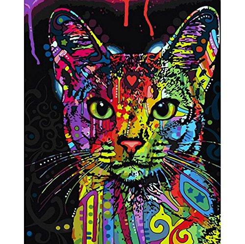 Wand-walking (Malen nach Zahlen Kit, Diy Ölgemälde Zeichnung bunte Katze Leinwand mit Pinsel Dekor Dekorationen Geschenke - 16 x 20 Zoll rahmenlose)