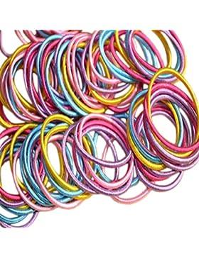 Weimay 100pcs colorato elastico coda di cavallo elastico sottile elastici per capelli fasce per capelli per bambine...