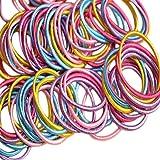Lumanuby 100 Stück Kinder Frauen Mädchen Haargummis Pferdeschwanzhalter Haarseil Harrband Haarschmuck (zufällige Farbe)