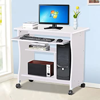 popamazing wood small computer desk trolley cart pc laptop. Black Bedroom Furniture Sets. Home Design Ideas