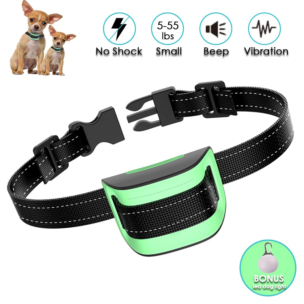 MASBRILL Anti Bark Dog Collar, Safe Dog Barking Deterrent Device by Sound and Vibration No Shock, Stop Barking Training Device for Small Medium Large Dogs – Green