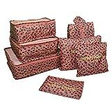 Yiran 7Sets Organisateurs de voyage emballant des cubes Sac de blanchisserie Bagage Sacs de compression Sac dans le sac Organisateur pour des vêtements ,Cosmétiques, Chaussures (Pink Leopard Print)