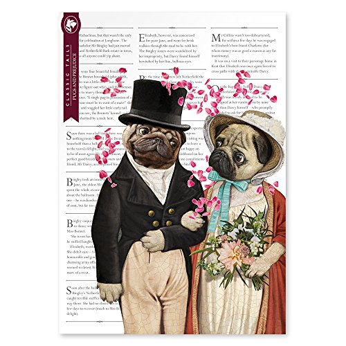 Pugs and Prejudice Beautifully Illustrated Poster Print