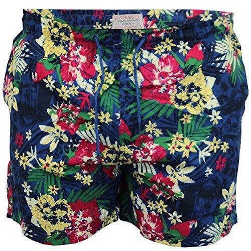 Short De Bain Hommes Brave Soul Floral Ananas Hawaii Impression De La Plage Été Neuf Marine - TROPICAL17