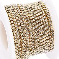 BENECREAT 10 yardas de diamantes de imitacion de cristal, cierre de cadena, claro, recorte, garra, cadena, costura, artesania, alrededor de 2880 piezas de diamantes de imitacion, 2 mm - plata (parte inferior de oro)