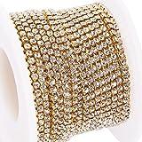 BENECREAT 9.14m Diamantes de Imitacion de Cristal, Cierre de Cadena Cadena para Costura Sobre 2880 Piezas de Diamantes de Imitacion, 2 mm - Plata (Parte Inferior de Oro)