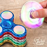 LED Finger Spinner Fidget Hand Spinner Chrome Edition Hand Spiner Tri-Bar Kreisel Anti Stress (Blau Chrome mit LED)