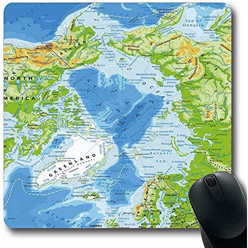 Mauspads Arktisblau Island Ozean Physikalische Karte Hoch Norwegen Detailliert Alaska Amerika Asien Atlantik Bering Computer Rutschfeste Gaming-Mausunterlage Mauspads 25X30cm
