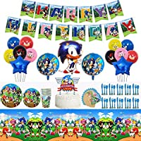 Humfoo Sonic The Hedgehog Birthday Party Supplies and Decorations|Happy Birthday Banner|Cake Topper|Cake Cutter|Napkins|Dinner Plates|Cake Plates|Cups|Table Cloth|Latex Party Balloons|Foil Balloons